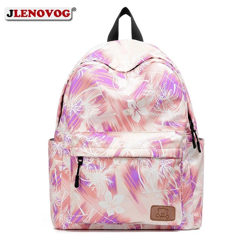 Las niñas lienzo impresión Floral mochila rosa de viaje impermeable Mochila GRANDE coreano nuevo 16 pulgadas de alto, mochila escolar