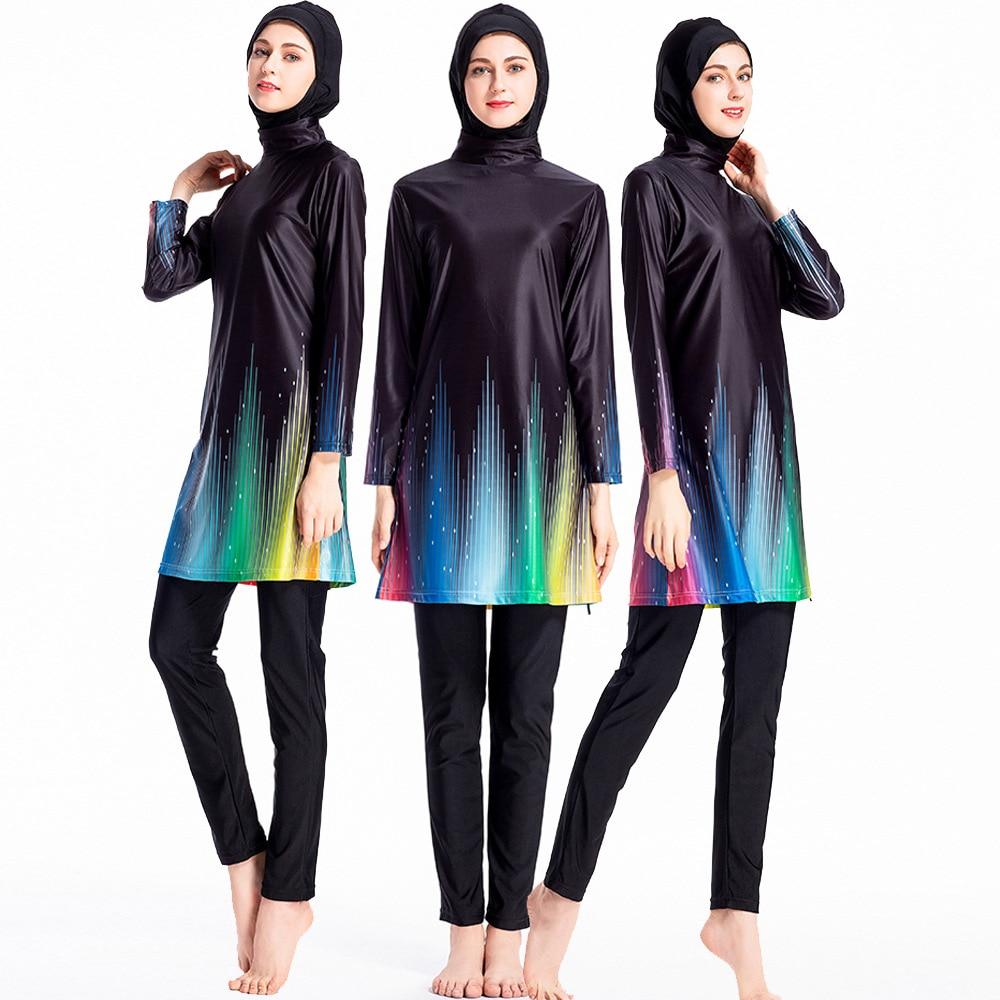 2019 Arco Iris Floral Modest musulmán traje de baño mujeres Islam 3 piezas cubierta completa islámico largo Muslimah traje de baño hijab para nadar Burkinis