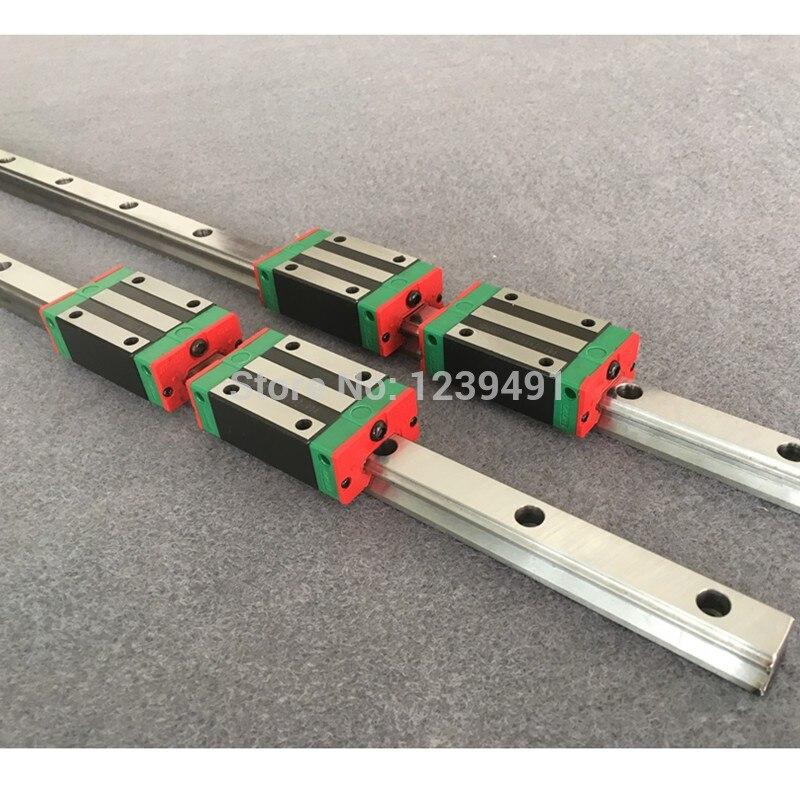 Carril de guía lineal HGR25 de 25mm 2 uds con 4 Uds de carro lineal HGH25CA o HGW25CA piezas CNC