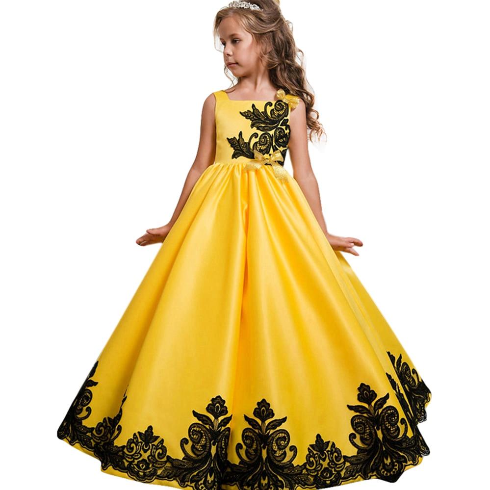 Платья с цветочным узором для девочек; Вечерние платья на свадьбу; Детское платье подружки невесты; Платье принцессы; Одежда для девочек-под...