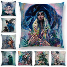 Gran oferta, hermosa pintura al óleo, niña milagrosa, belleza, bruja mágica, hermosa reina, Gato narval, Cisne, funda de cojín, funda de almohada