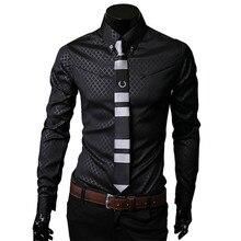 Men Plaid Shirts Brand 5XL 2018 New Mens Dress Shirts Long Sleeve Slim Casual Black White Social Male Clothes Chemise Homme 25