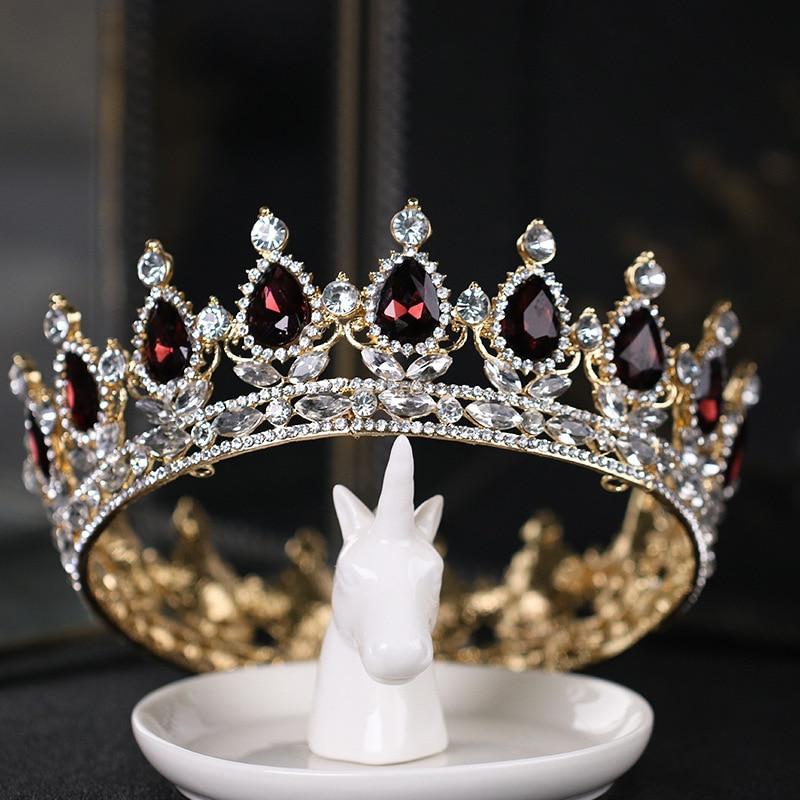 Gran oferta Vintage de lujo Tiara corona Tiaras de Reina ronda Boda Europea Tiaras oro Borgoña grandes coronas Cosplay joyería del pelo