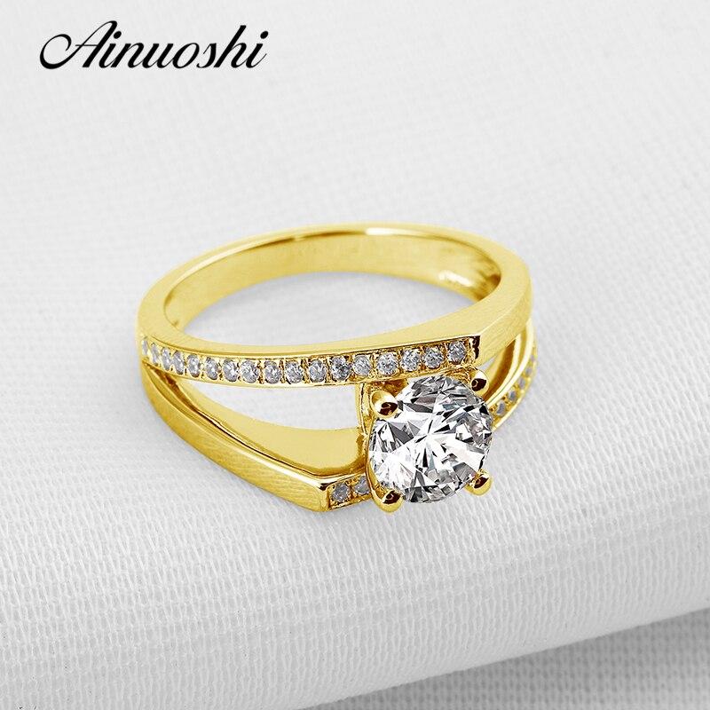 Anillo de compromiso de oro amarillo sólido de 14K AINUOSHI con doble pavé, anillo de compromiso de boda de diamante SONA de corte redondo de 1 ct para mujer