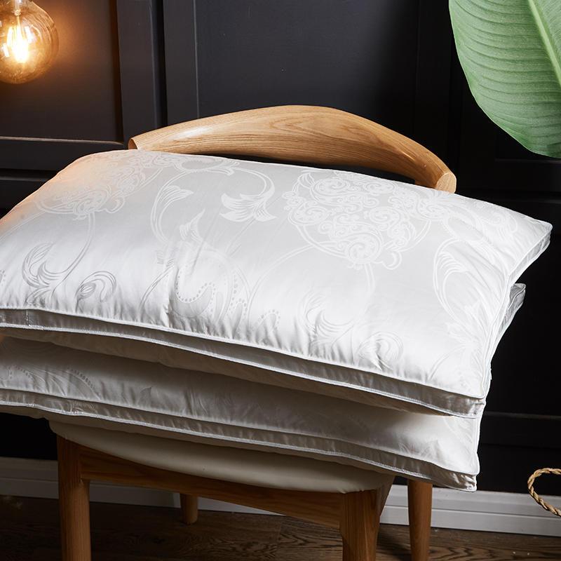 Jacquard de seda fronha travesseiro ganso branco para baixo