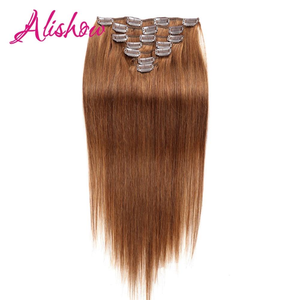 Alishow-مشبك شعر بشري طبيعي 160 ، وصلات شعر ، شعر ريمي ، لحمة مزدوجة ، 100% جرام ، 10 قطعة