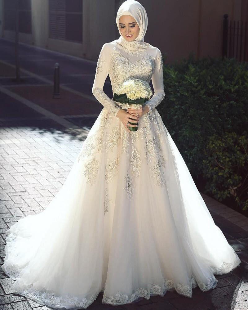 Vestidos de novia blancos árabes musulmanes hechos a medida manga larga aplicaciones de encaje y cuentas blancas vestidos de novia Hijab vestidos de boda