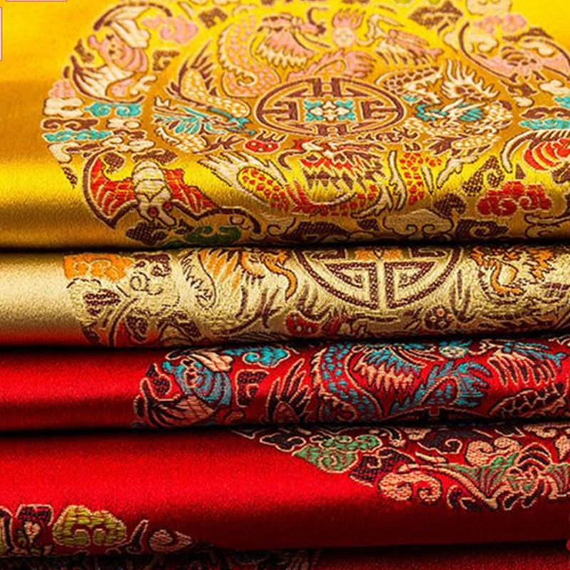 CF32 1 Yard Chinese Traditional Silk Brocade Fabric Cheongsam Clothing Costume Han Chinese Cos Kimono Dress Silk Stain Fabric