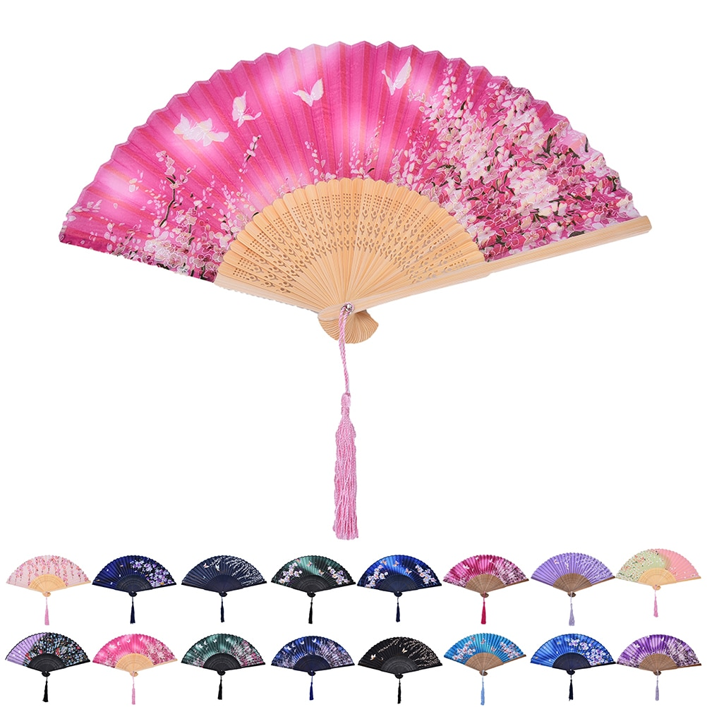 Ventilador plegable chino japonés de moda, 1 Uds., flor de cerezo Sakura, abanico de mano de bolsillo, arte de verano, manualidad para regalo, decoración para fiesta de baile o boda