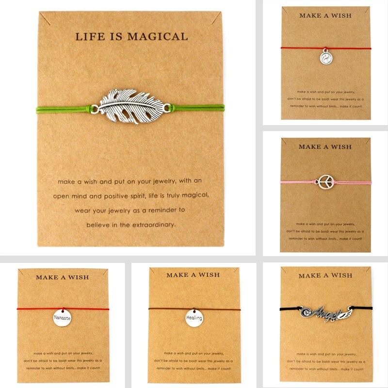 Peace Tai Chi Healing Namaste Feather Angel Wings Adjustable Charms Bracelets Women Men Boys Girls Unisex Fashion Fine Jewelry