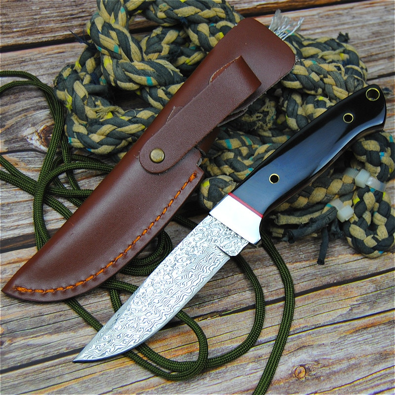 PEGASI سكين الجيش الدمشقي, سكين مطور يدويًا ذو شفرة فولاذية دمشق للتخييم ، سكين تكتيكي محمول عالي الصلابة ، سكين هدية