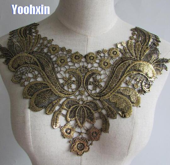 Bordado de algodón dorado 3D de lujo DIY flor encaje collar tela costura apliques cinta trim neckline guipure tela decoración de la boda