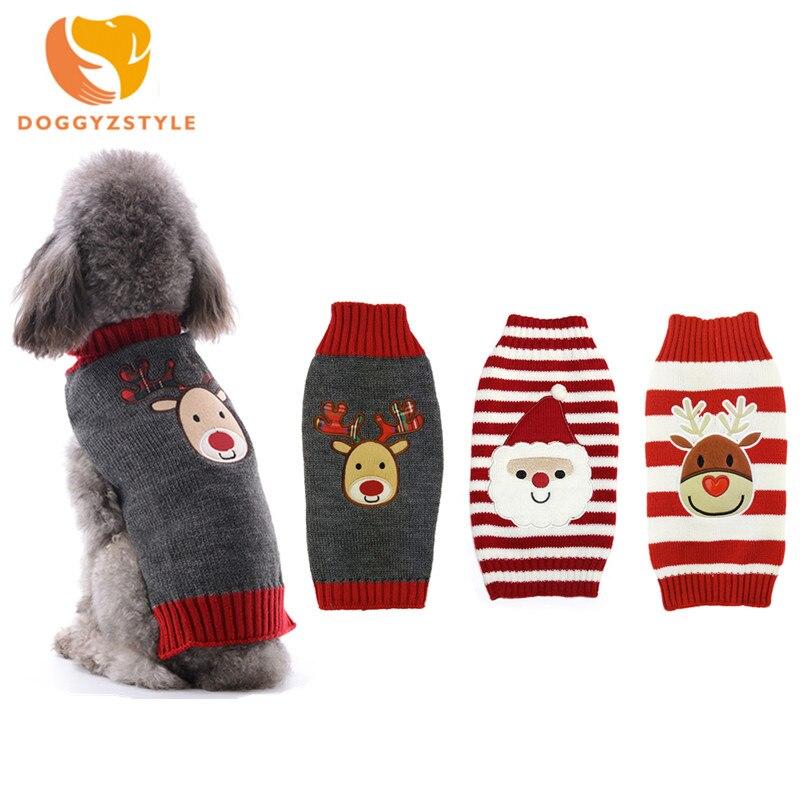 DOGGYZSTYLE Navidad perro suéter rojo ropa de abrigo ropa para perros pequeños perros Chihuahua Teddy XXS-M