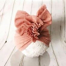 Chapeau Turban en dentelle solide pour bébés enfants   Bandeau, chapeau doux et confortable, nœud supérieur, fleur turban pour bébés filles, accessoires pour cheveux H261D