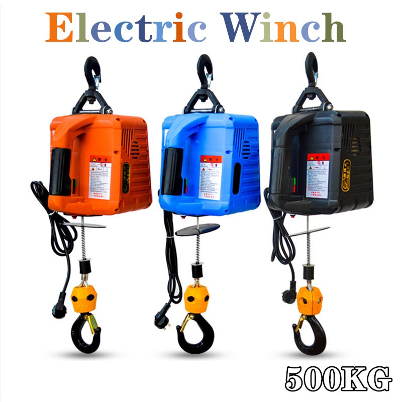 110/220V 500KG 7.6M  Portable Electric Winch with wireless remote controller winch traction block Electric hoist windlass