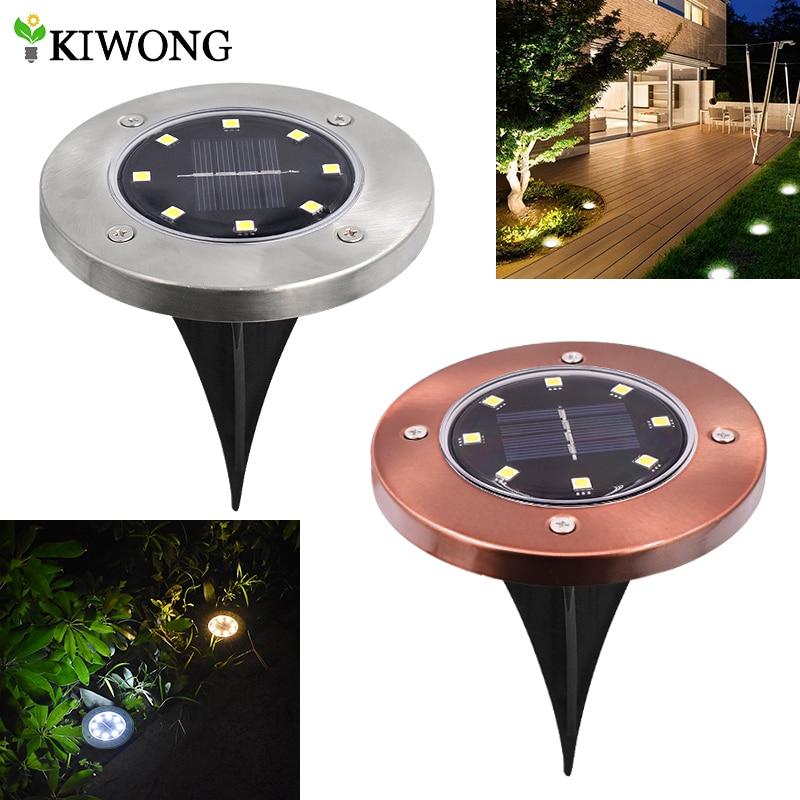 Solar Powered Ground Lights 8 leds Buried Security Lighting Outdoor Garden Waterproof Lamp For Yard Deck Floor Decoration