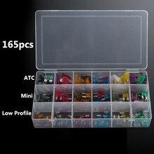 Kit dassortiment de fusibles de lame   ATC Mini lame à profil bas, boîte de fusibles de voiture 1-40 ampères, Kit de 165 pièces