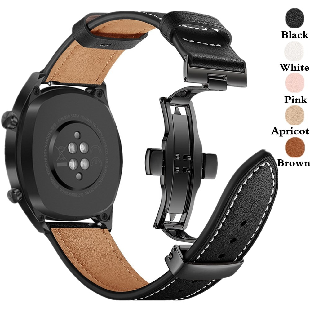 Strap for Samsung Galaxy Watch 3 41mm/45mm/42mm/46mm/Active 2/Gear S3 20MM/22MM Watchband Butterfly Buckle Leather Bracelet Belt