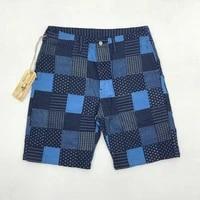 bob dong retro wabash patchwork plaid shorts casual for men indigo