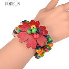 UDDEIN madeira encantos flor pulseira mulheres bohemian handmade beads bib jóias atacado one direction strand pulseiras & bangles
