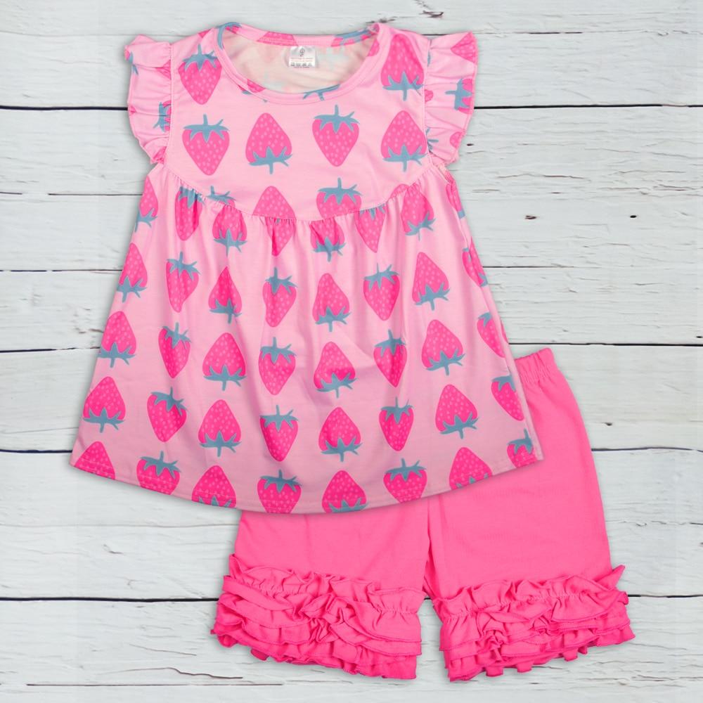 Girl Outfit Toddler Clothing Summer Set Sleeveless Pink Strawberry Pattern Ruffle Shorts Wholesale Boutique Clothing 2GK903-1168