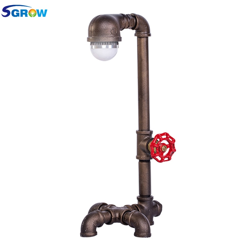 SGROW Loft Industrial Desk Lamp Iron Pipe Table Lamp E27 LED Bulb Lights for Bedroom Lamps Creative Design Decorative Desk Light