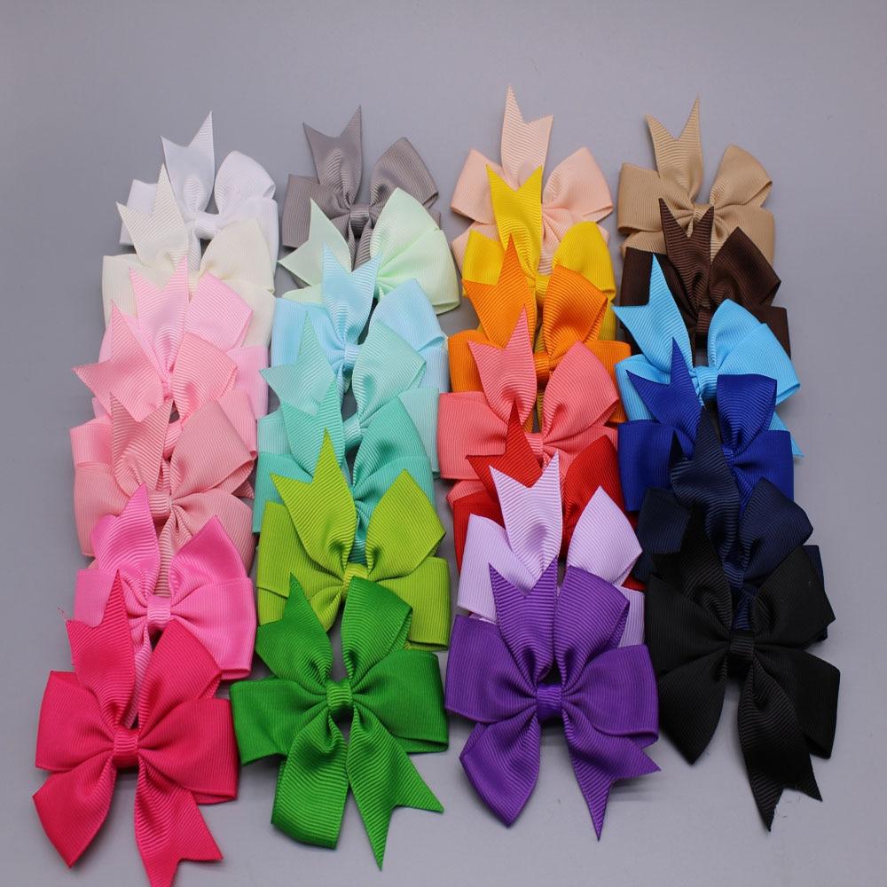 Free Shipping 20pcs/lot 27colors girls ribbon bows with clip newborn Girl Hair Bows Clips kids Boutique bows hair pins