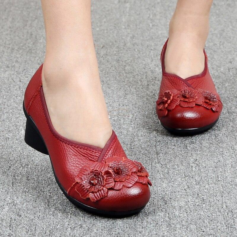 Zapatos de tacón medio Tangnest para mujer mocasines de cuero genuino zapatos de plataforma para mujer zapatos de fiesta informales de señora suave de flores XWX5802