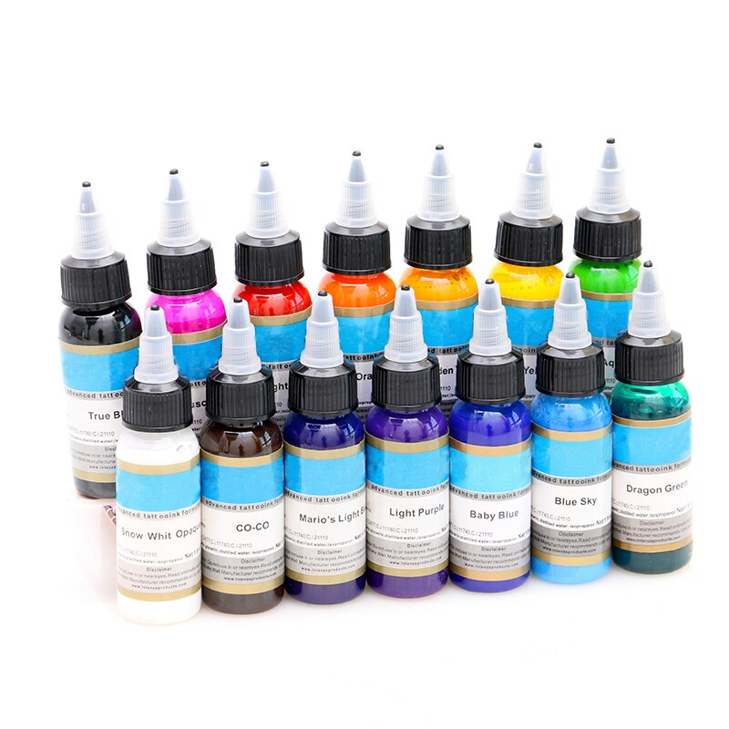 Pigmento de maquillaje permanente, kit de tinta de tatuaje de color, 14 colores, micropigmento, maquillaje, pigmento de tatuaje de línea sanguínea, juego de 30ML