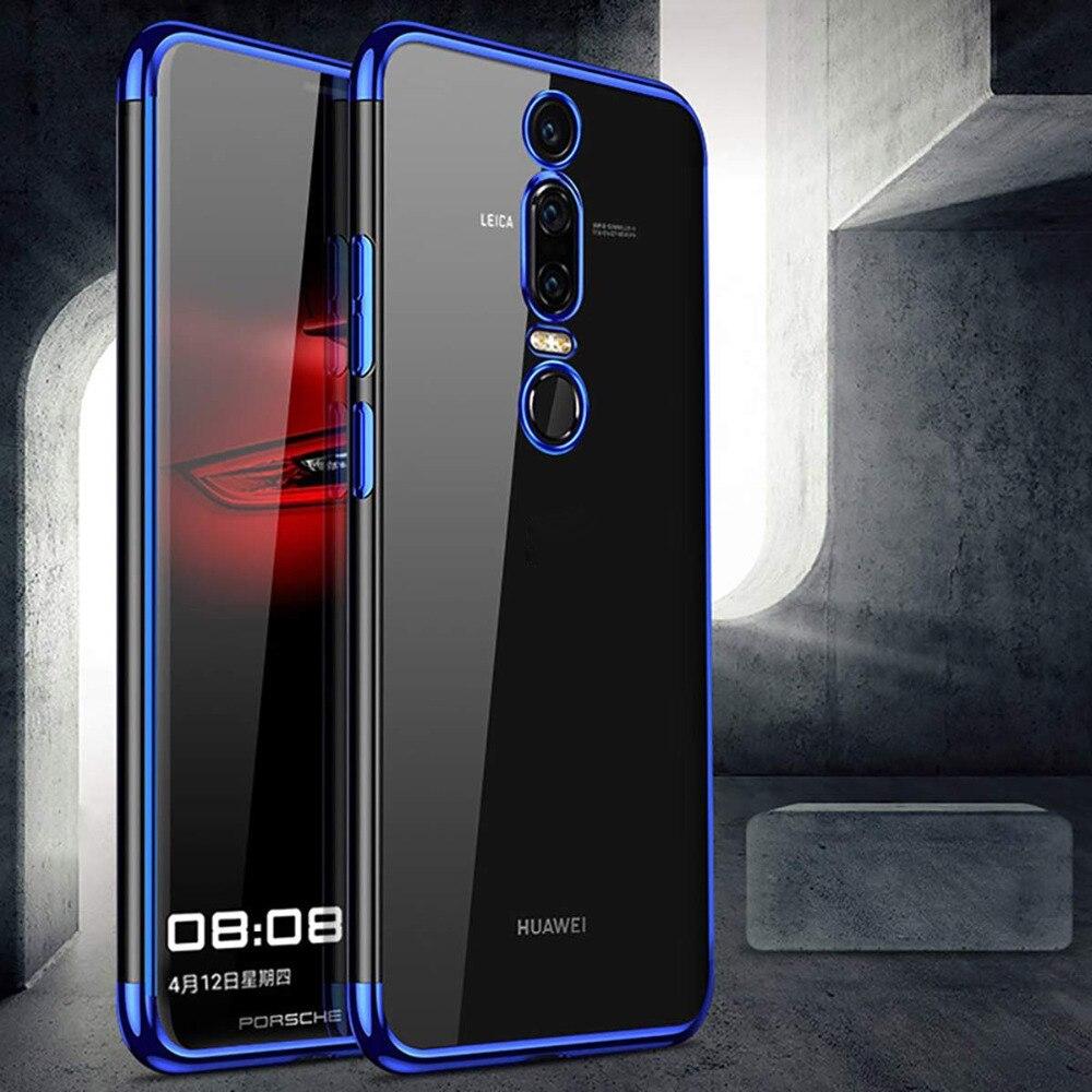 Carcasa de silicona blanda transparente con marco enchapado para Huawei Mate 20 Lite P20 P Smart Honor 8X 10 Y9 2018 Mate 10 P30 P9 P10