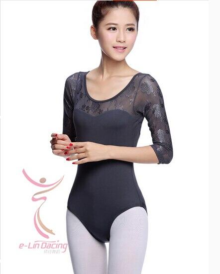 Frete grátis cinza azul manga longa dancewear ballet collant exercício roupas de dança ballet collant terno adulto