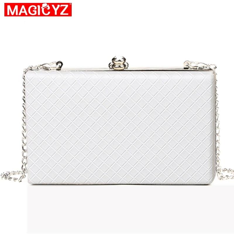 2021 White ladies frame bag black women leather clutches purse Gold silver Black diamond Lattice handbag chain Evening Bags