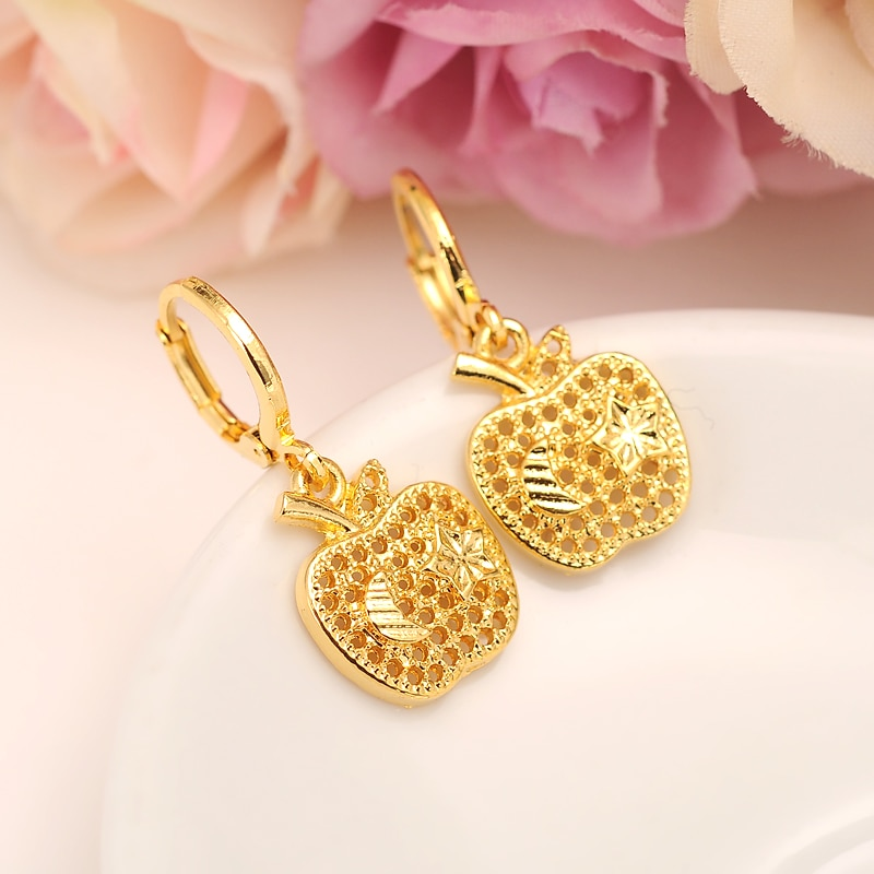 apple star Earrings for Women/Girls 24 k Fine Yellow Gold Filled Earing Jewelry Gifts African,Indonesia,Nigeria,Congo