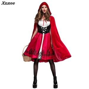 Halloween Christmas Party Role Play Little Red Riding Hood Costume Adult Cosplay Dress Party Nightclub Queen Costume Xnxee