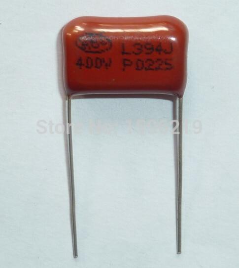 100 Uds condensador CBB 394 400V 394J 0,39 uF 390nF P15 CL21 condensador de película de polipropileno metalizado