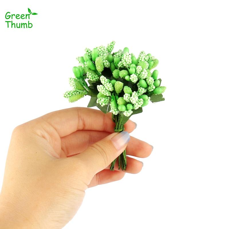 10 bundle 9cm Colour Glass Beads Artificial Mini Berry Bouquet for Wedding Box Corsage DIY Candy Box Accessories