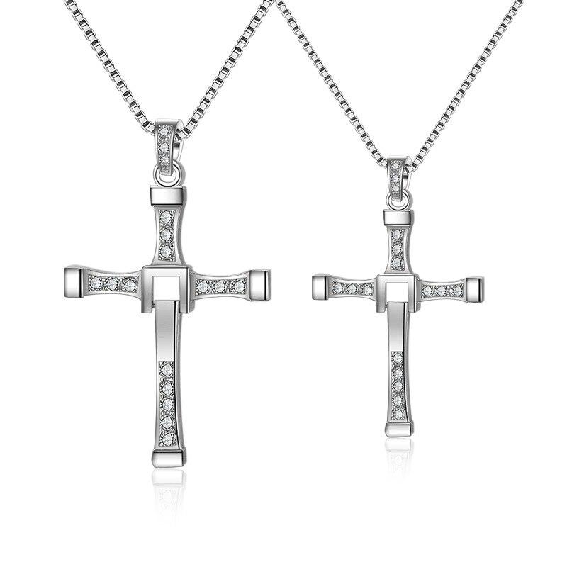 100% joyería de plata de ley 925 auténtica para hombre, collar con colgante de cruz, Gargantilla pesada de moda para hombres