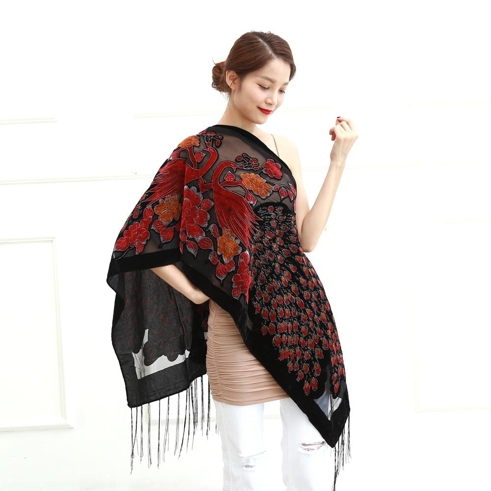 12 Colors UK Peacock Velvet Shawl Women Scarf Fashion Winter Pashmina Poncho US Gift For Lady free shipping