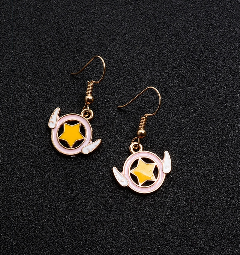 1pair Anime Cosplay Magic Card Girl Kawaii Anime Star Space Wings Earrings Simple Small Fresh Cute Girl Earrings