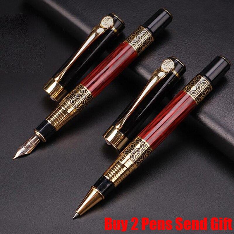 Pluma estilográfica de tinta de madera rosa de diseño clásico marca Hero, bolígrafo de escritura de Metal de lujo para hombres de negocios, compre 2 bolígrafos para enviar regalos