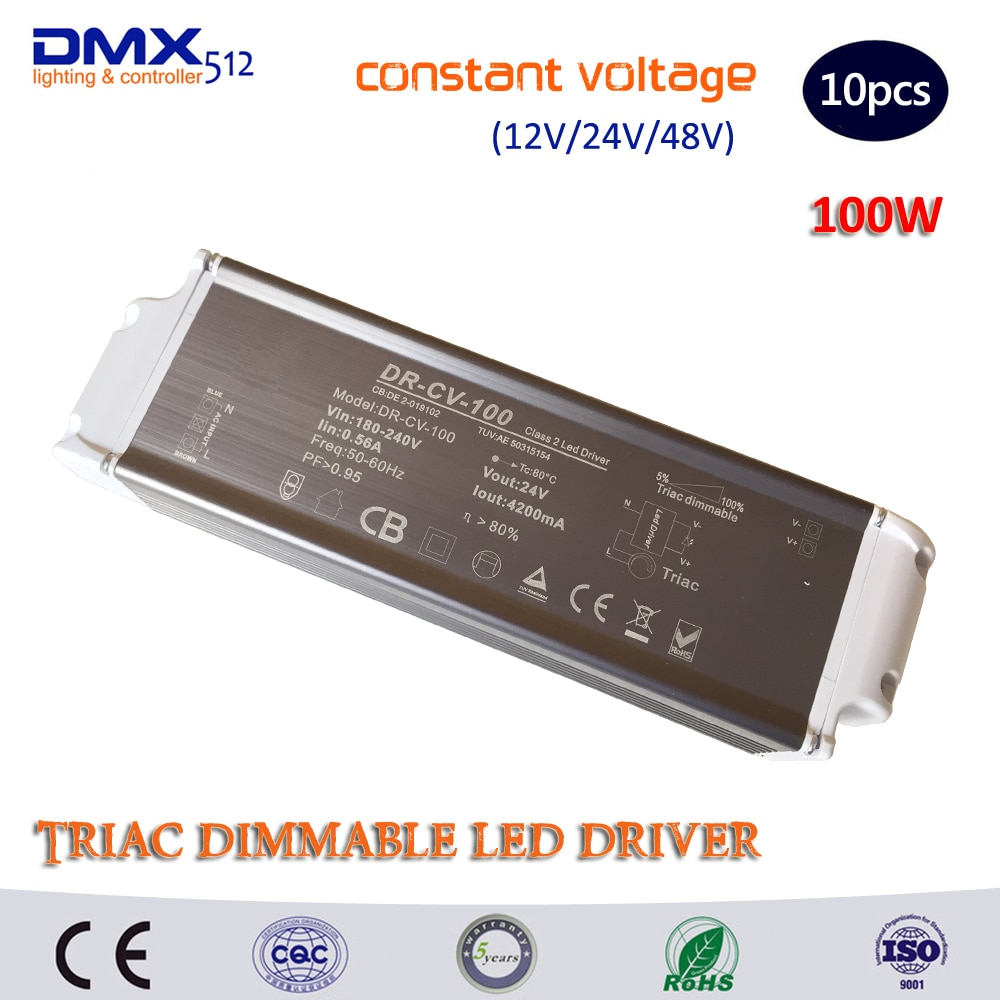 DHL envío gratis 100W Triac atenuable LED controlador de voltaje constante (DC12V/DC24V) Fuente de alimentación LED