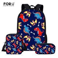 FORUDESIGNS 3pcs Children School Backpack Set Cartoon Dinosaur School Bags For Girls Boys Preppy Rucksack Kid Cute Book Bag