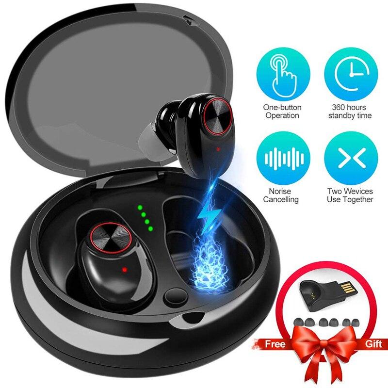 Auriculares Bluetooth con V5.0 + EDR, auriculares inalámbricos con sonido estéreo, micrófono incorporado, llamadas de manos libres, Auriculares Bluetooth TWS