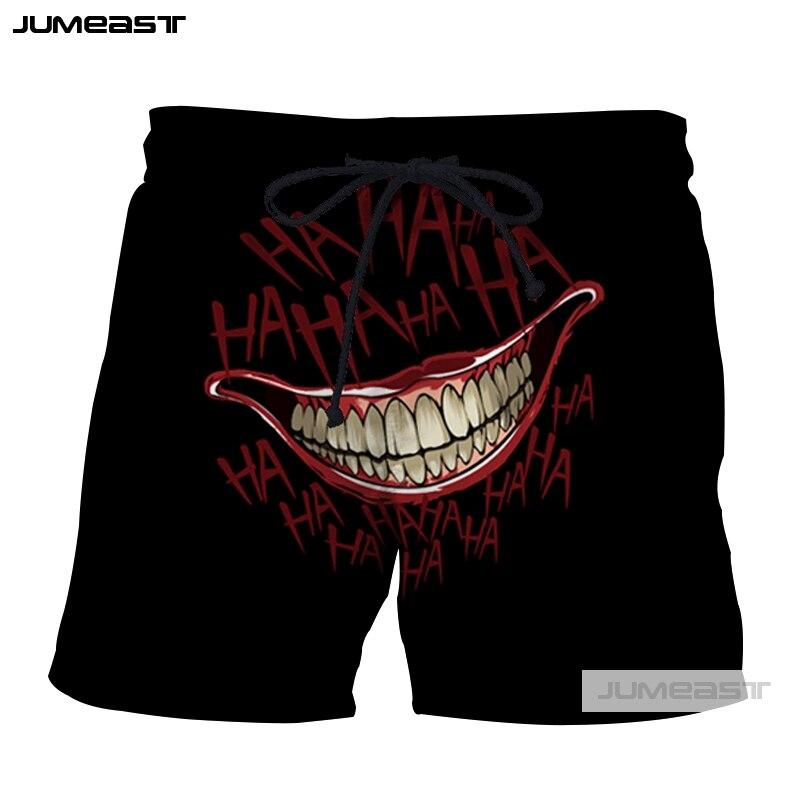 Jumeast 3D imprimir moda HAHA Joker pantalones cortos gracioso por qué cara sonriente tan grave hombres/mujeres tamaño grande Short novedad tabla pantalones cortos