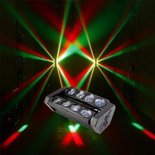 عرض خاص 8x10w RGBW LED شعاع ضوء العنكبوت ، 4 في 1 بار متحرك رئيس شعاع الإضاءة DMX 512