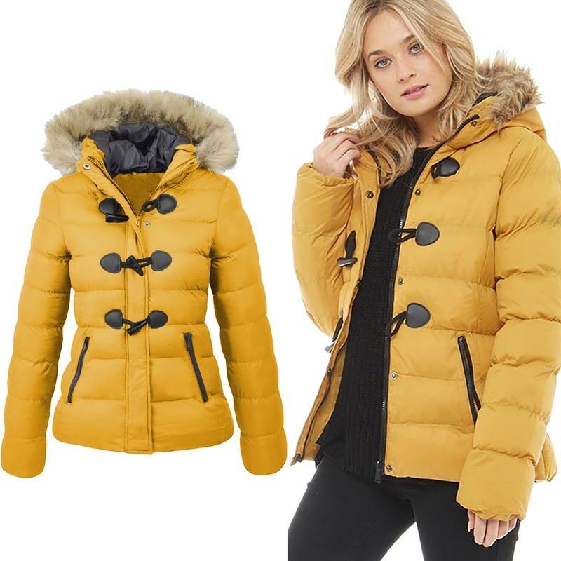ZOGAA, chaqueta de Invierno para mujer, abrigo de nieve 2019, abrigo informal de piel con cuello de cuerno y hebilla, chaqueta de gran tamaño para mujer, abrigo cálido, Parkas