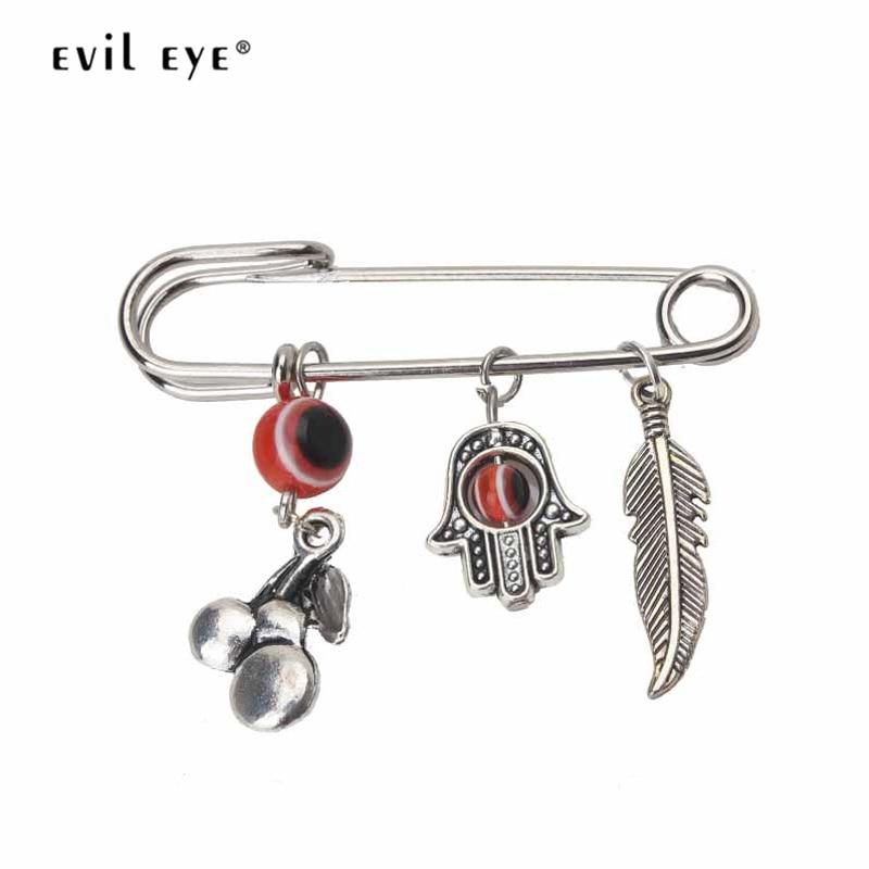 Mau olho broche de metal pino cor prata planta folha mal olho pingente clipe moda jóias acessórios para mulheres ey2689 1 pçs