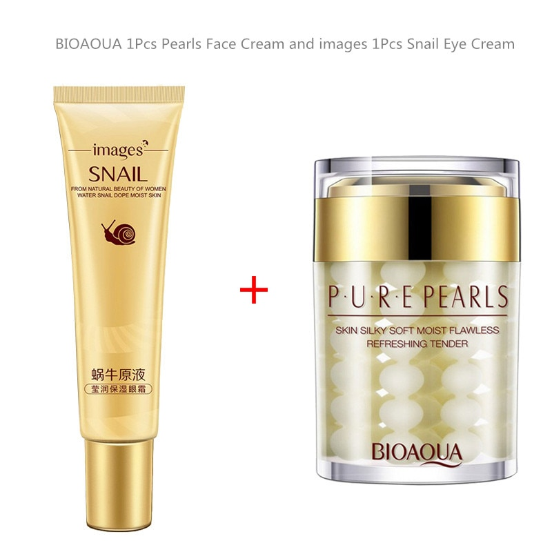 Hot Sale Bioaqua Moisturizing Oil Control Pearl Face Cream images Anti Aging Wrinkle Dark Circles Snail Eye Cream Skin Care Set