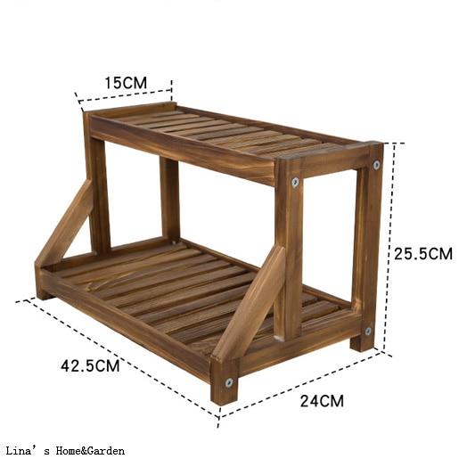هدم تصميم الصلبة خشب الصنوبر 2 الطبقة الرف للمواد الصغيرة