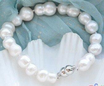 "$ Wholesale_jewelry_wig $ frete grátis 8 ""17mm branco barroco pérolas de água doce dupla pulseira"